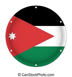 round metallic flag of Jordan with screw holes