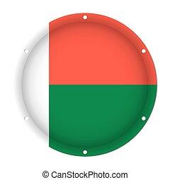 round metallic flag of Madagascar with screw holes