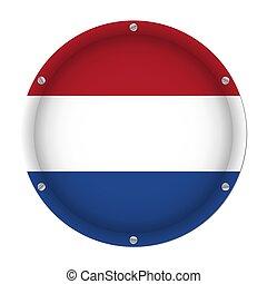 round metallic flag of Netherlands with screws