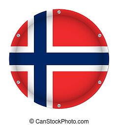 round metallic flag of Norway with screws
