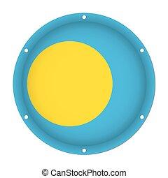 round metallic flag of Palau with screw holes