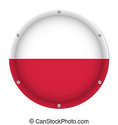 round metallic flag of Poland with screws