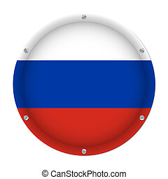round metallic flag of Russia with screws