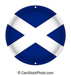 round metallic flag of Scotland with screw holes
