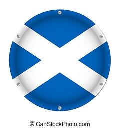 round metallic flag of Scotland with screws