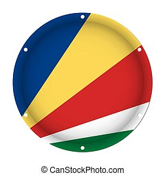 round metallic flag of Seychelles with screw holes