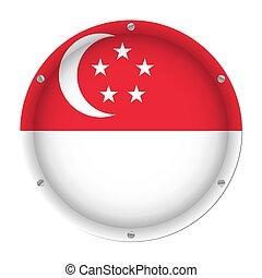 round metallic flag of Singapore with screws