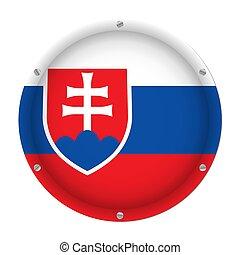 round metallic flag of Slovakia with screws