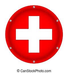 round metallic flag of Switzerland with screws