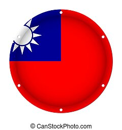 round metallic flag of Taiwan with screw holes