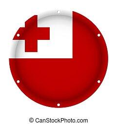 round metallic flag of Tonga with screw holes