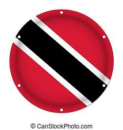 round metallic flag of Trinidad and Tobago