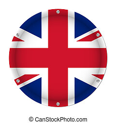 round metallic flag of United Kingdom with screws