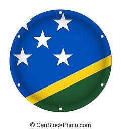 round metallic flag - Solomon Islands, screw holes
