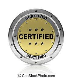 Round metallic quality badge, isolated on white background.