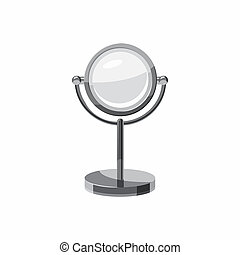 Round mirror icon, cartoon style