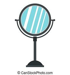 Round mirror icon, flat style