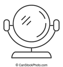 Round mirror thin line icon. Makeup mirror vector illustration isolated on white. Cosmetic mirror outline style design, designed for web and app. Eps 10.