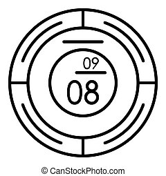 Round modern clock icon, outline style