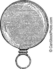 Round Monocle, vintage engraving.