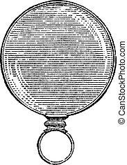 Round Monocle, vintage engraving. - Round Monocle, vintage...