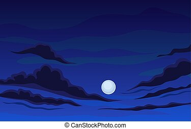 Round moon on a dark blue night sky. Vector illustration.