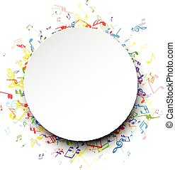 Round musical background with notes. - White round musical...