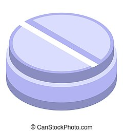 Round nanotechnology pill icon, isometric style