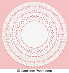 Round napkin on a pink background. Openwork lace pattern.