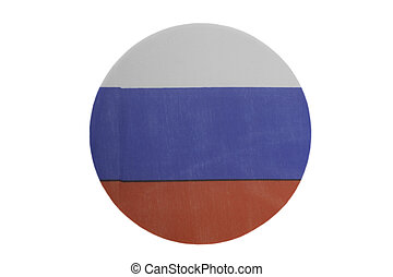 Round national flag of Russia