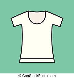 round neck t shirt, filled color outline editable stroke