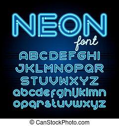 Round Neon Font - Neon Light Alphabet Vector Font. Neon tube...