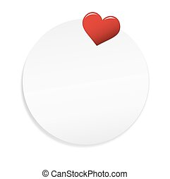 Round note with Heart Pin