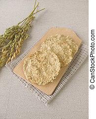 Round oats crispbread