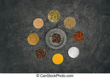 round of glass bowls with different spices