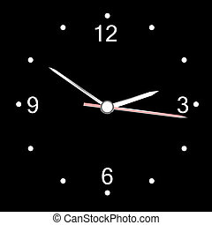 round office wall clock isolated on black. vector