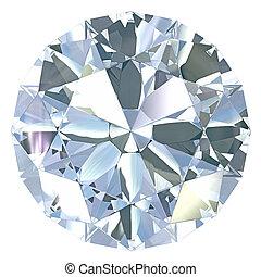 Round, old european cut diamond, isolated on white...