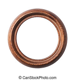 Round old wooden frame