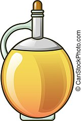 Round olive oil bottle icon, cartoon style