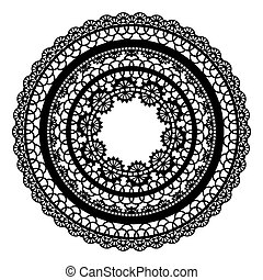 Round openwork frame. Lace element isolated on white background.