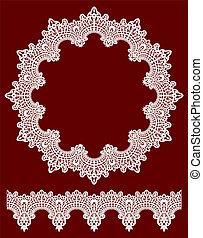 Round openwork lace border. Realistic vector illustration.