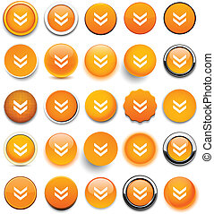 Round orange download icons.