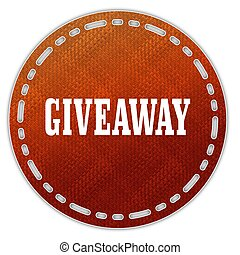 Round orange pattern badge with GIVEAWAY message....