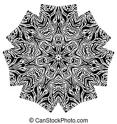 Round ornament - Black and white abstract ornamental element