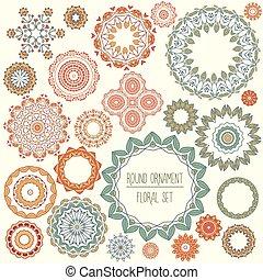 Round ornament floral set