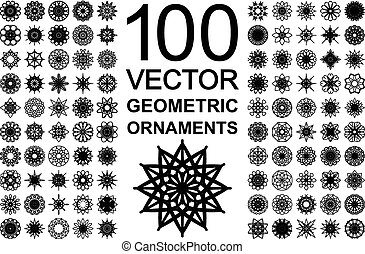 Editable round east ornament set. 100 vector symbols