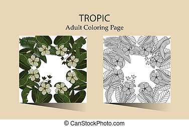 Round ornament with tropical flowers