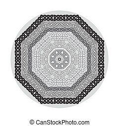 Round ornamental vector shape, celtic patterns, frames isolated on white