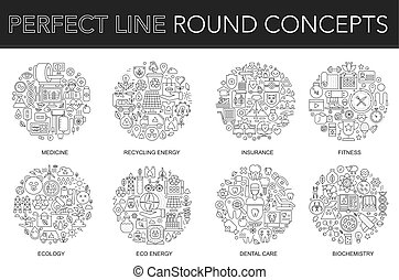 Round outline concept of medicine, recycling energy, insurance, fitness, ecology, eco energy, dental care, biochemistry. Thin line stroke vector icons set for cover, emblem, badge, flyers and posters.