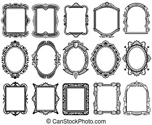 Round, oval, rectangular vintage victorian, baroque vector frames